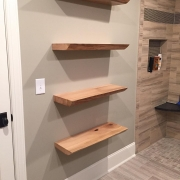 Live edge sycamore shelves